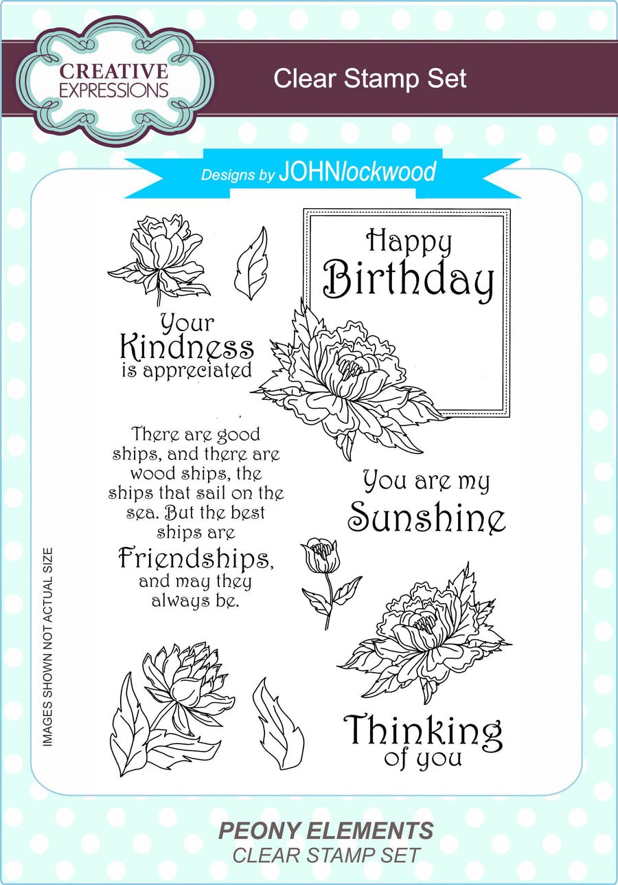 John Lockwood Stamps - Peony Elements A5 Clear Stamp Set