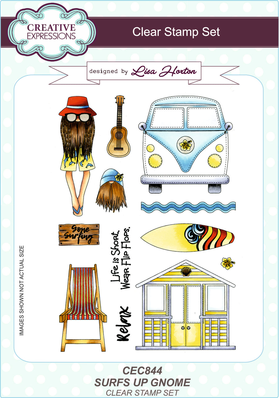 Lisa Horton Surfs Up Gnome A5 Clear Stamp Set - CEC844