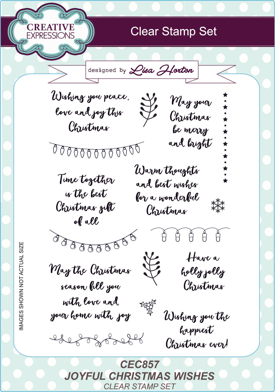 Lisa Horton Stamps - Joyful Christmas Wishes A5 Clear Stamp Set (CEC857)