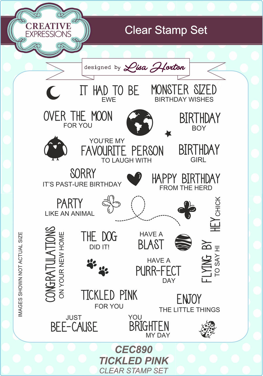 Lisa Horton - Tickled Pink A5 Clear Stamp Set - CEC890