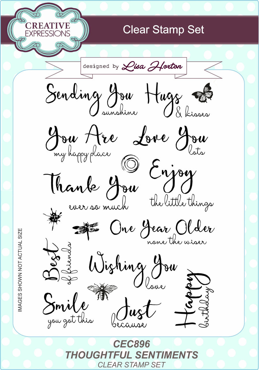 Lisa Horton - Thoughtful Sentiments A5 Clear Stamp Set - CEC896