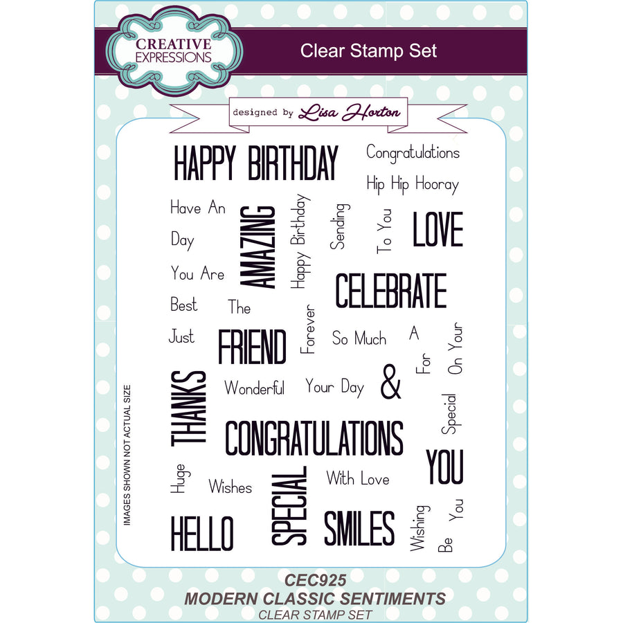 Lisa Horton Stamps - Modern Classic Sentiments A5 Clear Stamp Set - CEC925