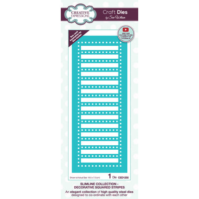 Sue Wilson Dies by Creative Expressions - Slimline - Decorative Squared Stripes - CED1255