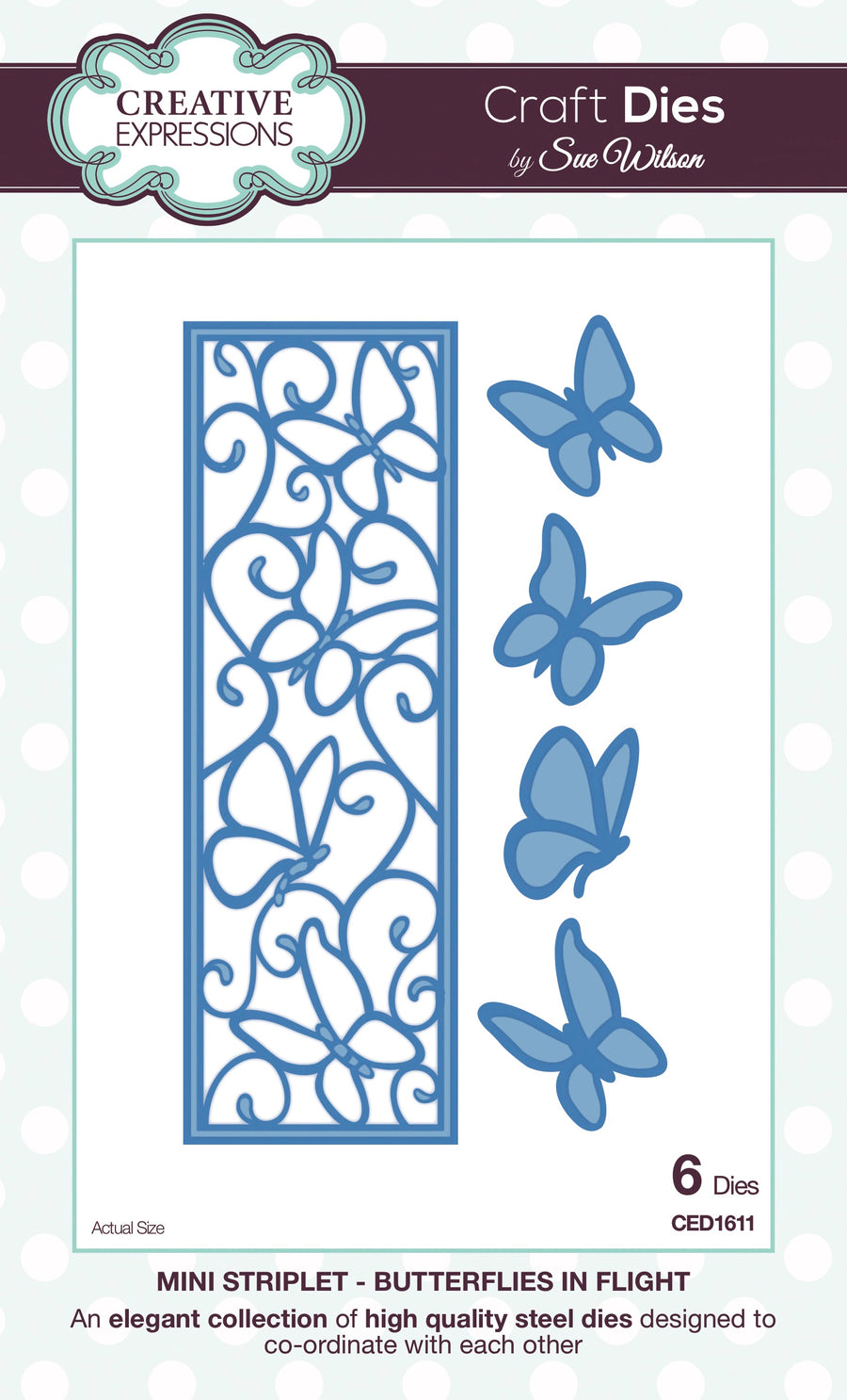 Craft Dies by Sue Wilson - Striplets Collection - Butterflies in Flight (CED1611)