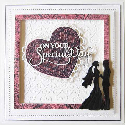 Sue Wilson Stamps To Die For - Woven Trellis Heart Pre Cut Stamp  - UMS877
