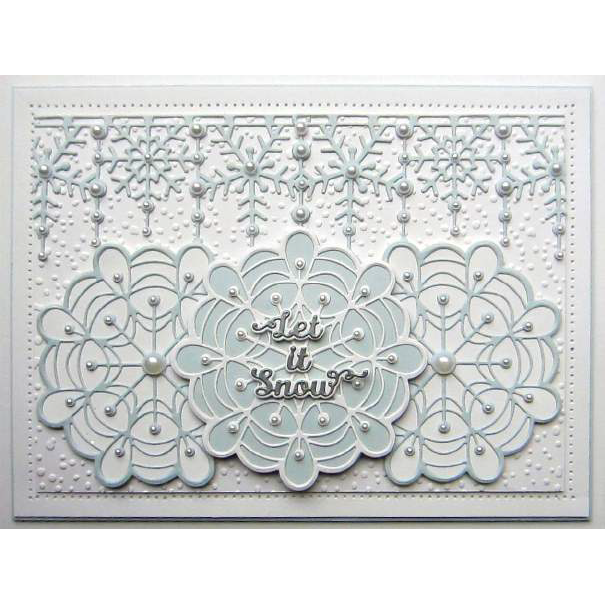 Sue Wilson Dies - Festive Collection -  Pearly Snowflake Border Craft Die - CED3178
