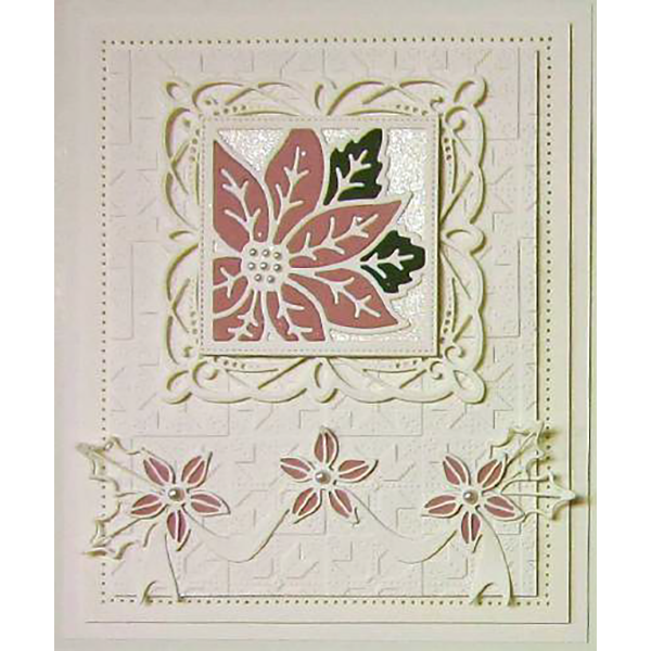 Sue Wilson Dies - Festive Collection -  Poinsettia Ribbon Border Craft Die - CED3175