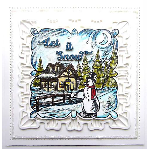 Sue Wilson Dies - Festive Shadowed Sentiment Let It Snow Craft Die - CEDSS011