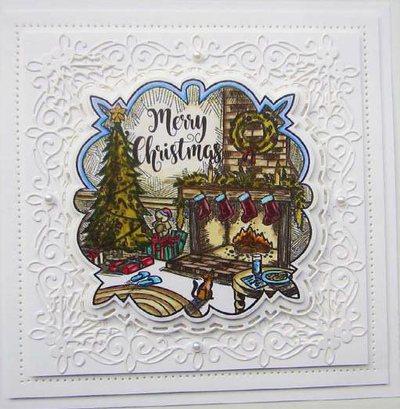 Sue Wilson Stamps To Die For - Felicitys's Fireside Pre Cut Stamp - UMS885