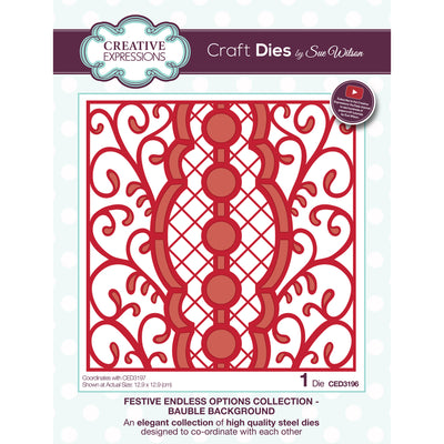 Sue Wilson Dies - Festive Collection - Endless Options Bauble Background - CED3196