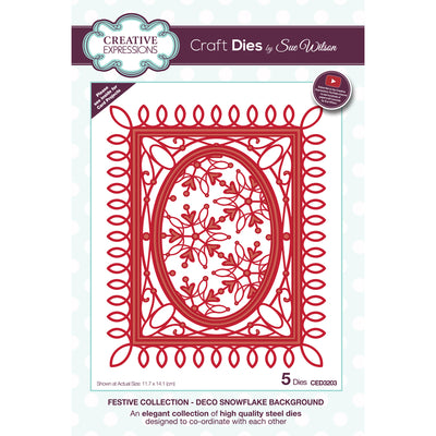 Sue Wilson Dies - Festive Collection - Deco Snowflake Background - CED3203