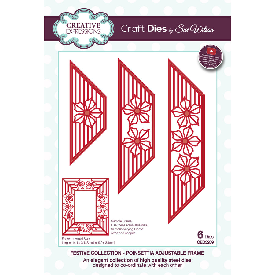 Sue Wilson Dies - Festive Collection - Poinsettia Adjustable Frame - CED3209