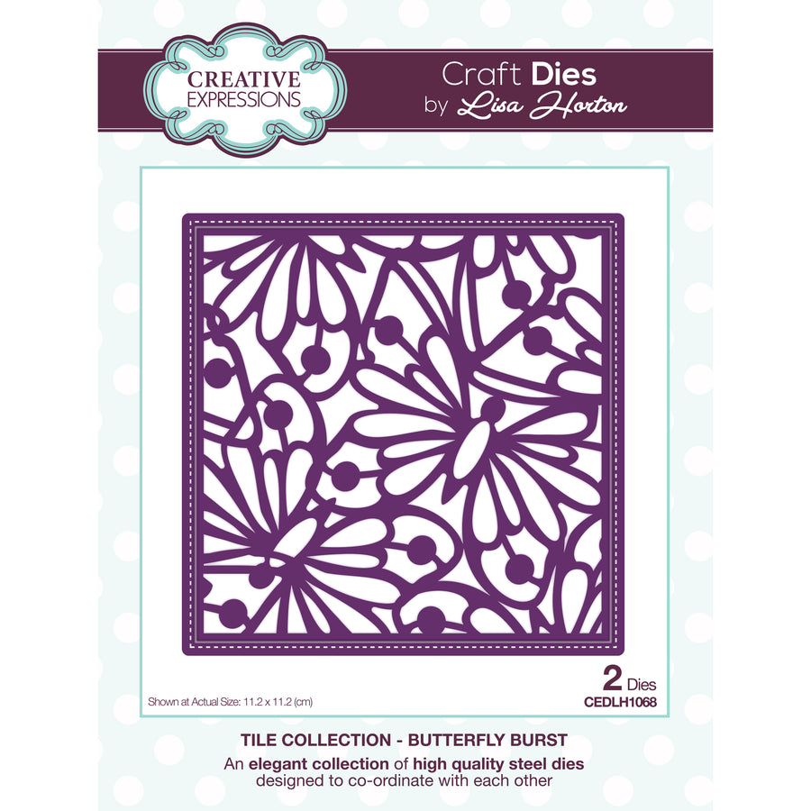 Lisa Horton Dies - Tile Collection - Butterfly Burst Craft Die