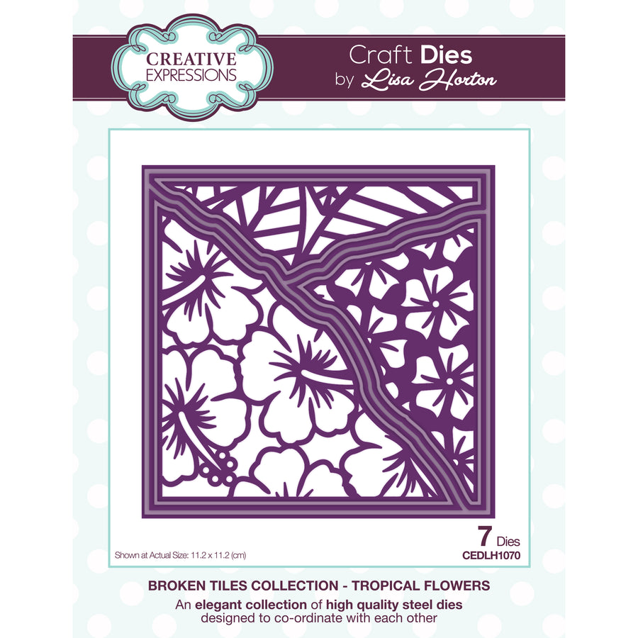 Lisa Horton Dies - Broken Tiles Collection - Tropical Flowers Craft Die