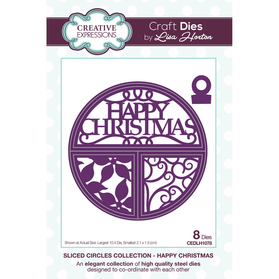 Lisa Horton Dies - Split Circles - Happy Christmas Craft Die - CEDLH1078