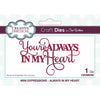 Sue Wilson Dies - Mini Expressions Collection - Always in my Heart  - CEDME050