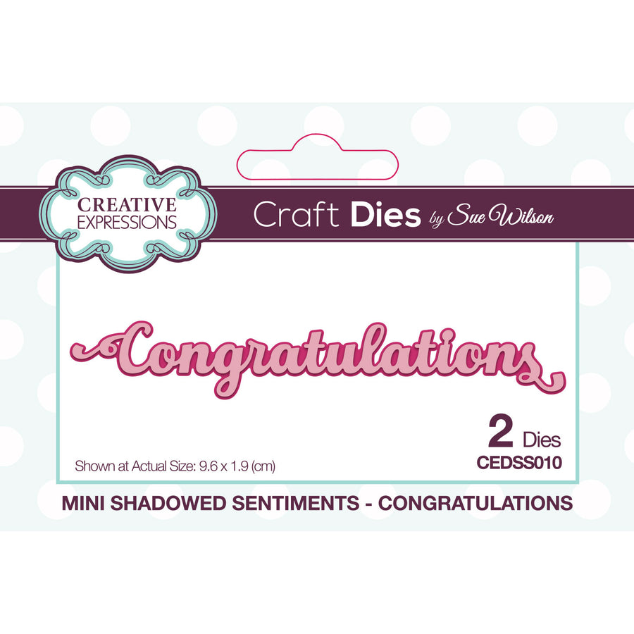 Sue Wilson Dies - Mini Shadowed Sentiments - Congratulations - CEDSS010