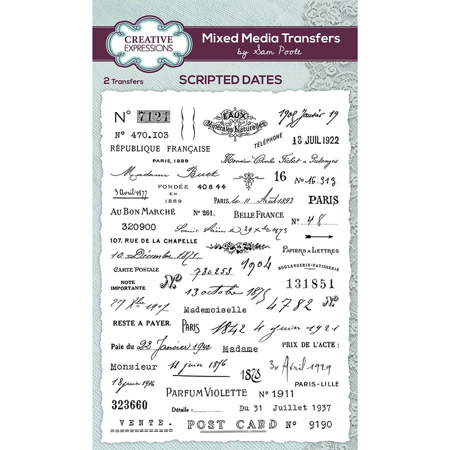 Sam Poole - Mixed Media Transfers - Scripted Dates