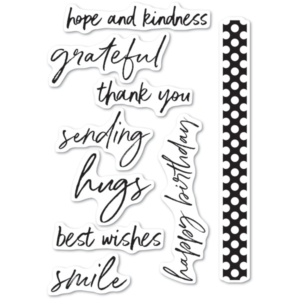 Memory Box Stamp - Bold Friendly Greetings Clear Stamp Set - CL5236