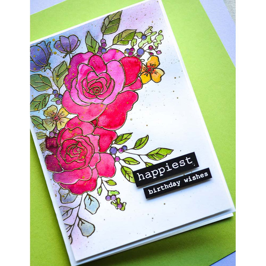 Memory Box Stamp & Die Set - Birthday Rose Corner - CL5251-D