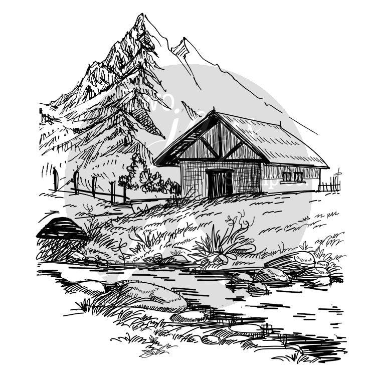 Two Jays Clear Stamp - Mountain House - CTJJ115