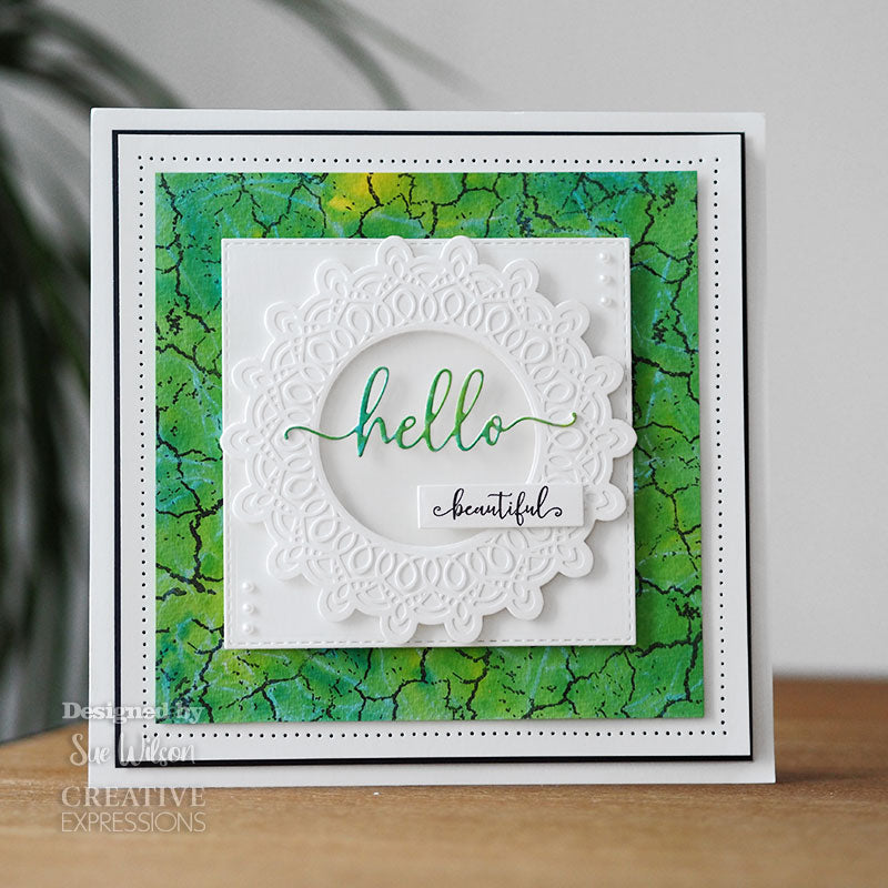 Sue Wilson Stamp & Die by Creative Expressions - Bold Shadowed Sentiments - Hello - CEDSD013