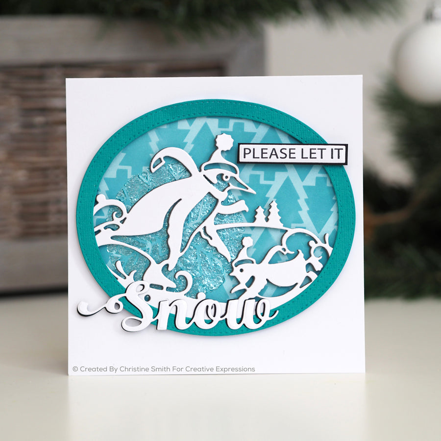 Paper Cuts Festive Edger Die - Penguins Sledding - CEDPC1123
