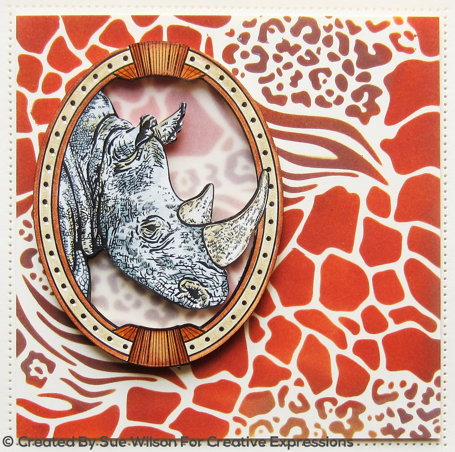 "Sue Wilson 7""x 7"" Stencils by Creative Expressions - Animal Prints - CEST041"