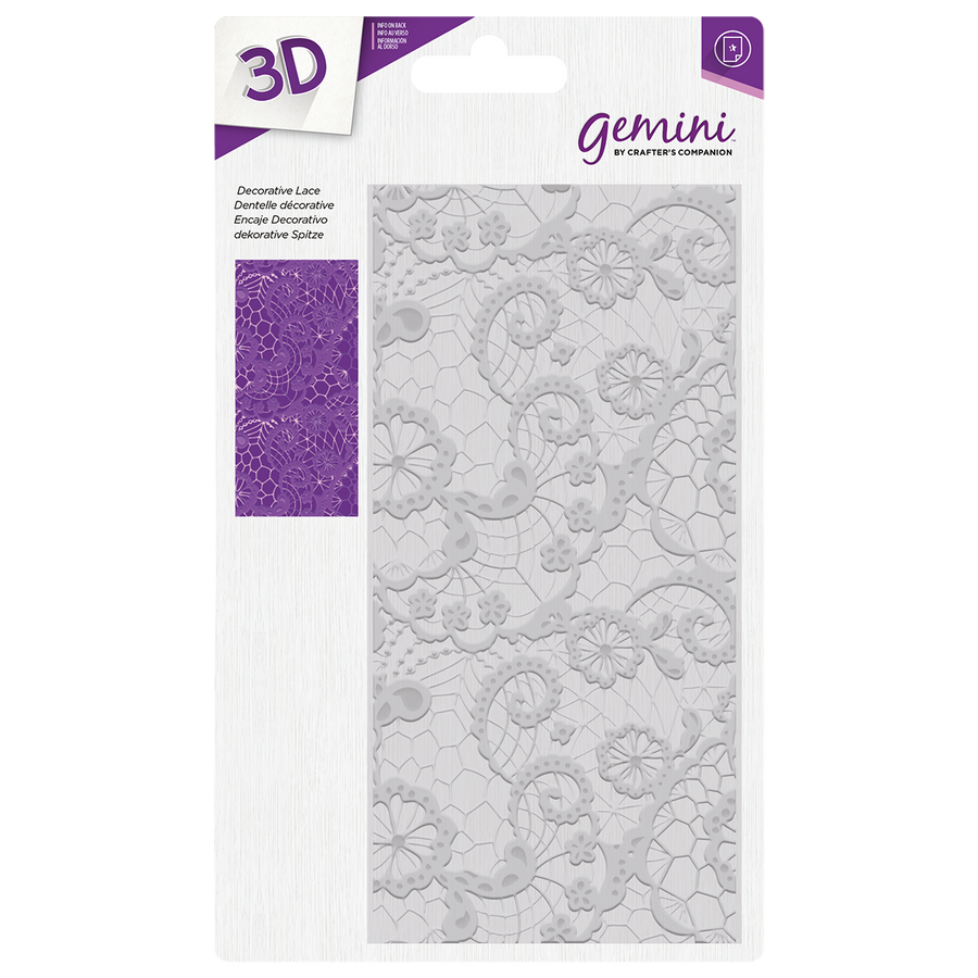 "Gemini by Crafters Companion - 3D Embossing Folder 5.75"" x 2.75"" - Decorative Lace"