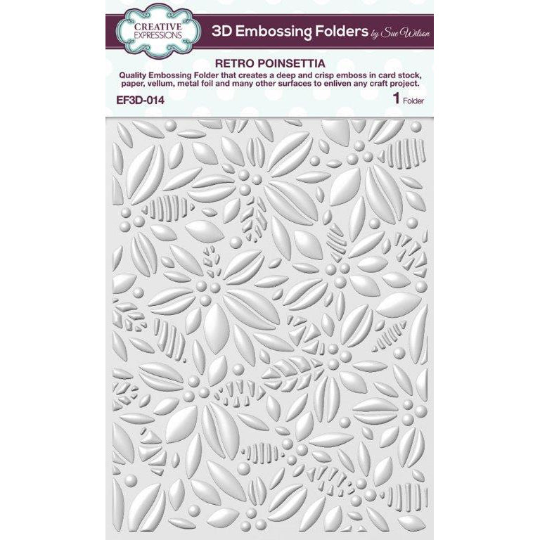 Sue Wilson 3D Embossing Folder - Retro Poinsettia - EF3D-014