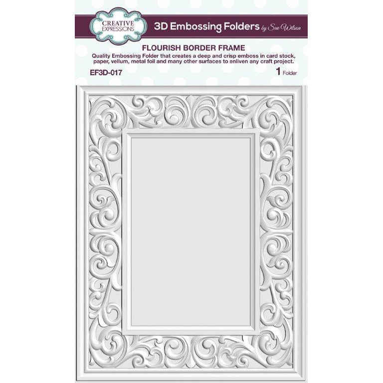 Sue Wilson 3D Embossing Folder - Flourish Border Frame - EF3D-017