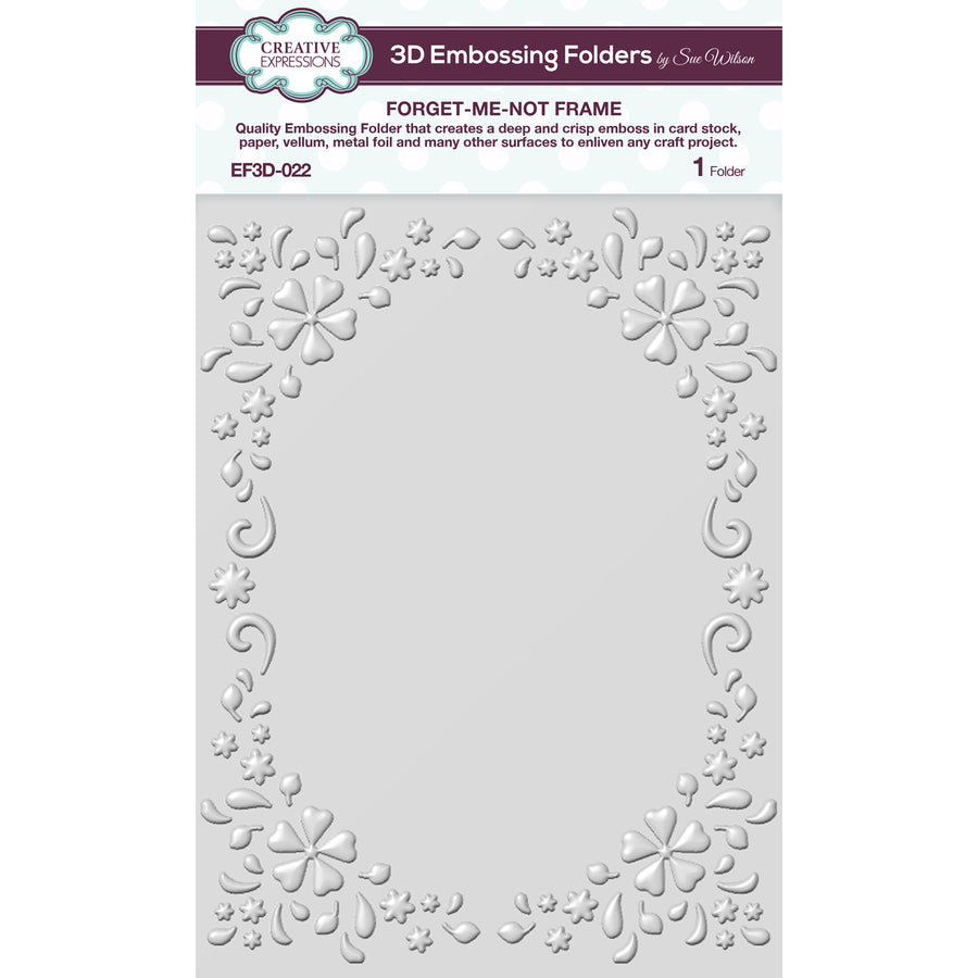Sue Wilson Embossing Folder 3D - Forget-me-not Frame - EF3D-022