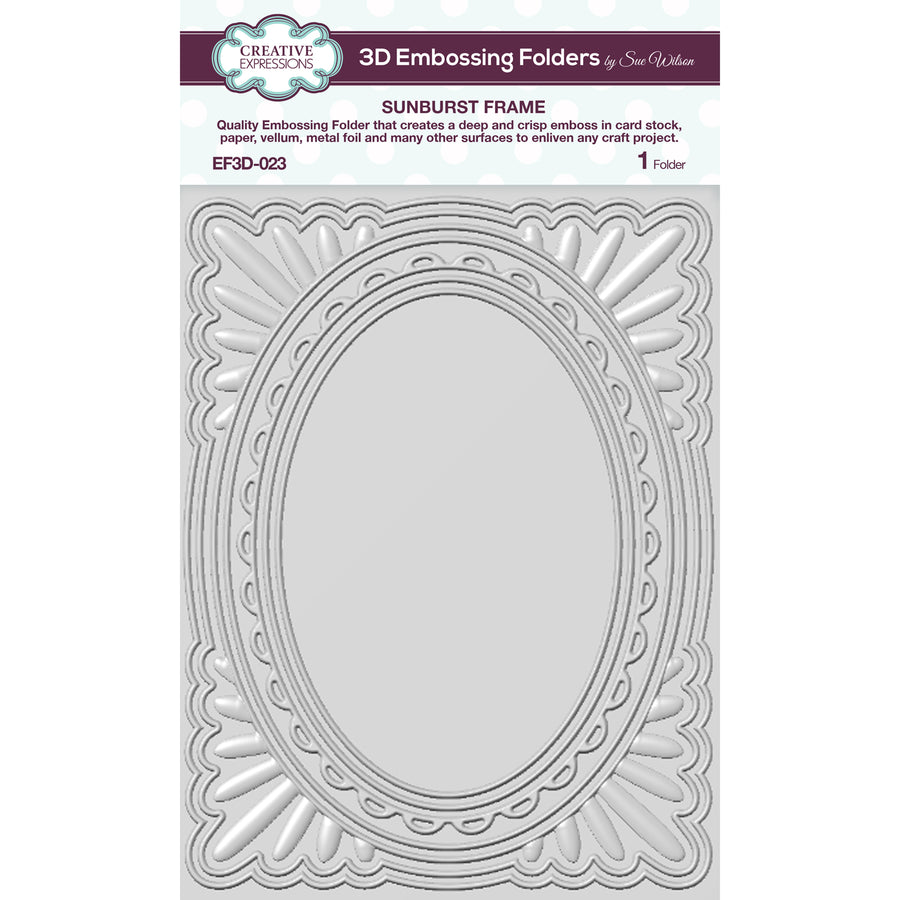 Sue Wilson Embossing Folder 3D  - Sunburst Frame  - EF3D-023