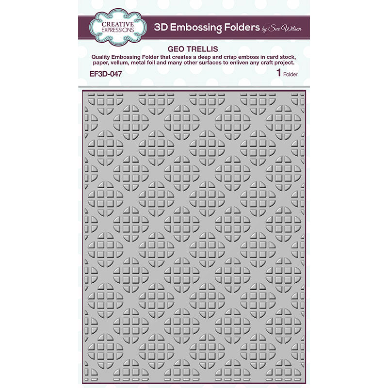 Sue Wilson 3D Embossing Folder by Creative Expressions - Geo Trellis - EF3D-047