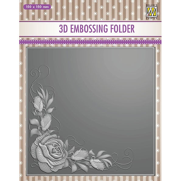 Nellie Snellen 3D Embossing Folder - Rose Corner - EF3D012