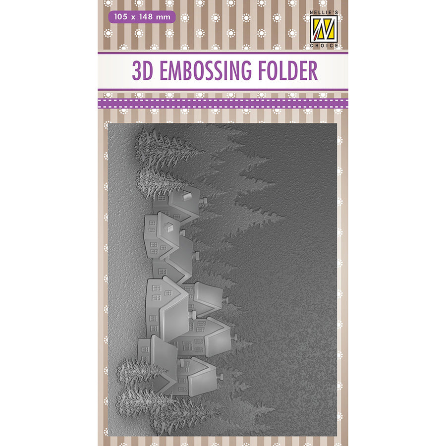 Nellie Snellen 3D Embossing Folder - Snowy Village - EF3D017