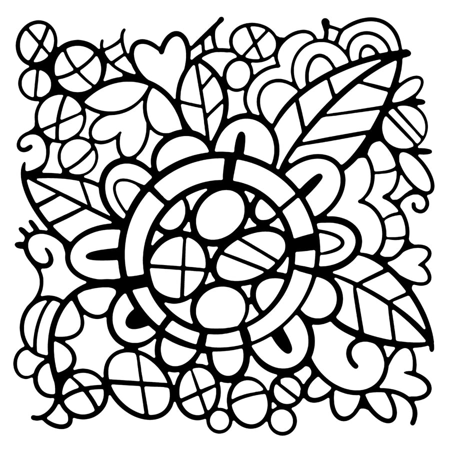 "Woodware 6"" x 6"" Stencil - Flower Doodle - FRST045"