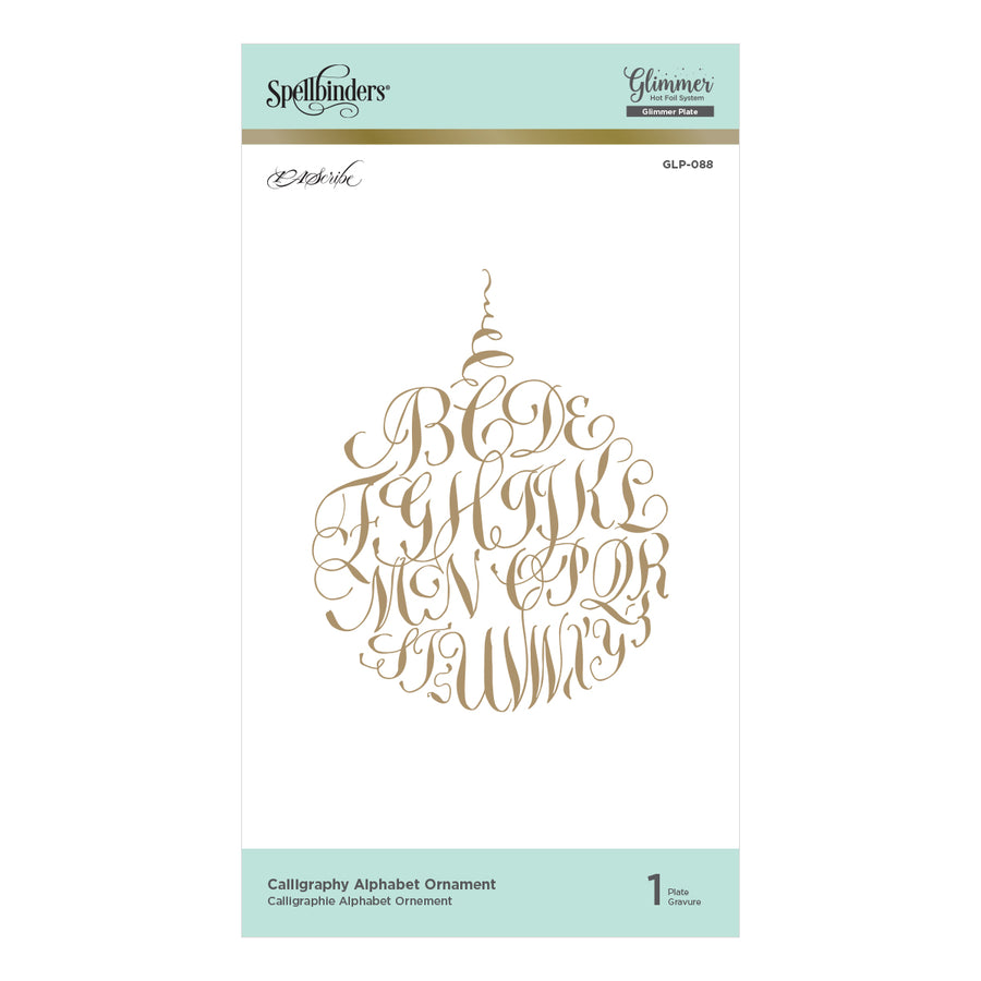 Spellbinders - Calligraphy Alphabet Ornament Glimmer Hot Foil Plate PA Scribe by Paul Antonio  - GLP-088