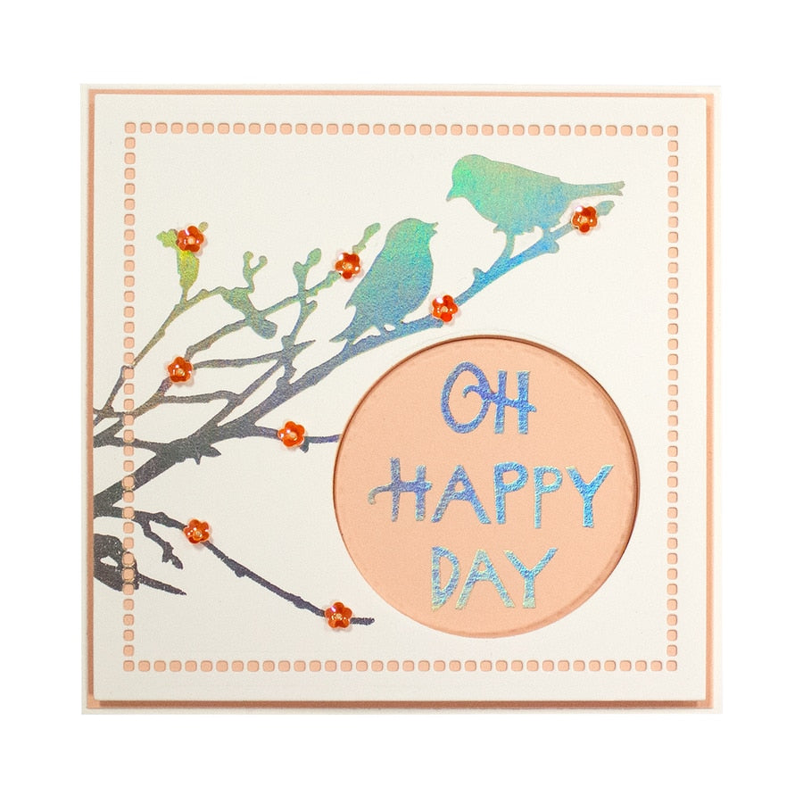 Spellbinders Glimmer Hot Foil Plate - Oh Happy Day - Happy by Sharyn Sowell - GLP-095