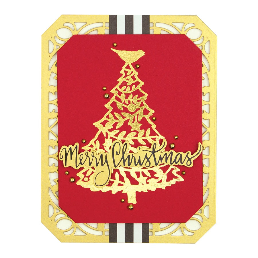 Spellbinders - Merry Christmas Tree Glimmer Hot Foil Plate - Sharyn Sowell Holiday 2019 Collection  - GLP-113