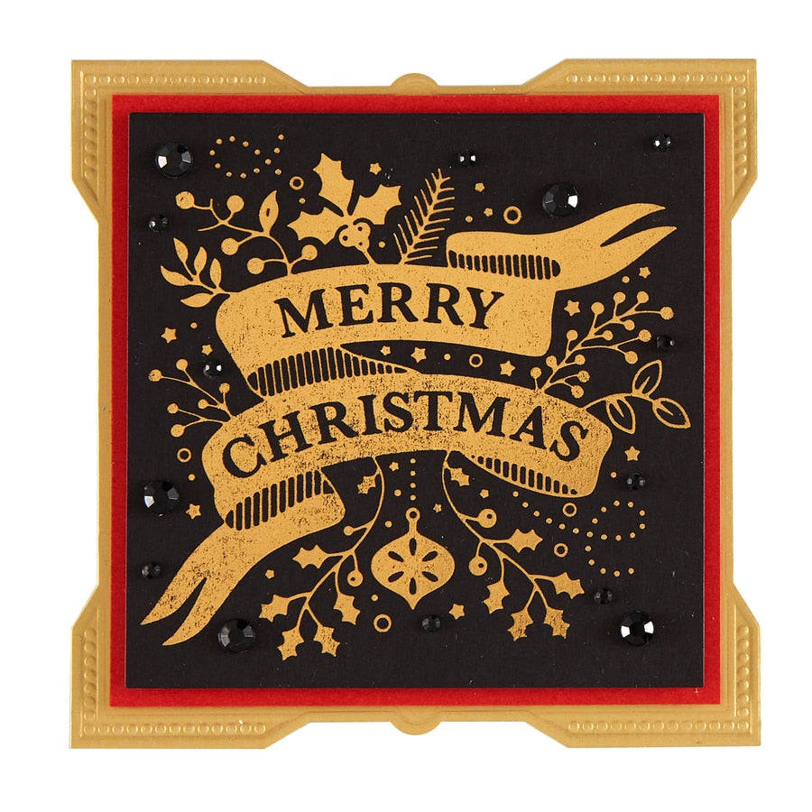 Spellbinders - Merry Christmas Banner Glimmer Hot Foil Plate Holiday 2019  - GLP-114