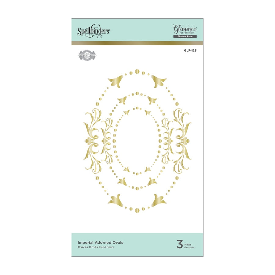 Spellbinders Glimmer Hot Foil Plates - Imperial Adorned Ovals - Royal Flourish by Becca Feeken - GLP-125