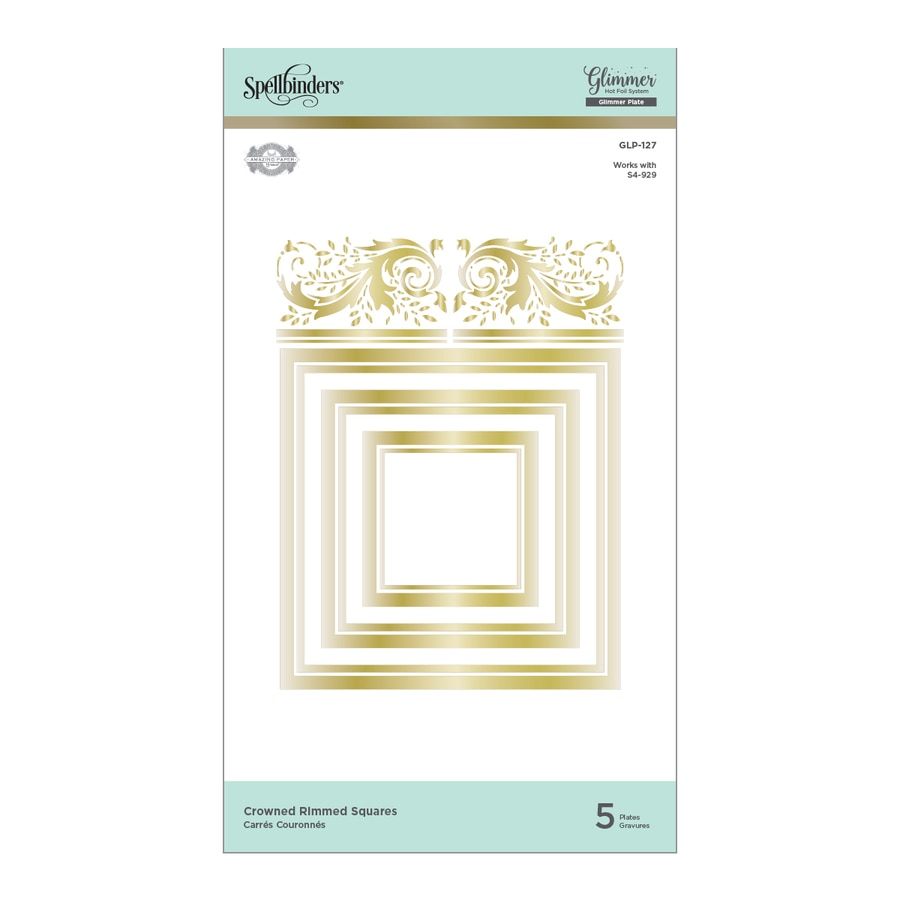 Spellbinders Glimmer Hot Foil Plates - Crowned Rimmed Squares - Royal Flourish by Becca Feeken - GLP-127