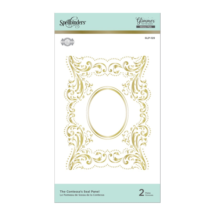 Spellbinders Glimmer Hot Foil Plates - The Contessa Seal Panel - Royal Flourish by Becca Feeken - GLP-129