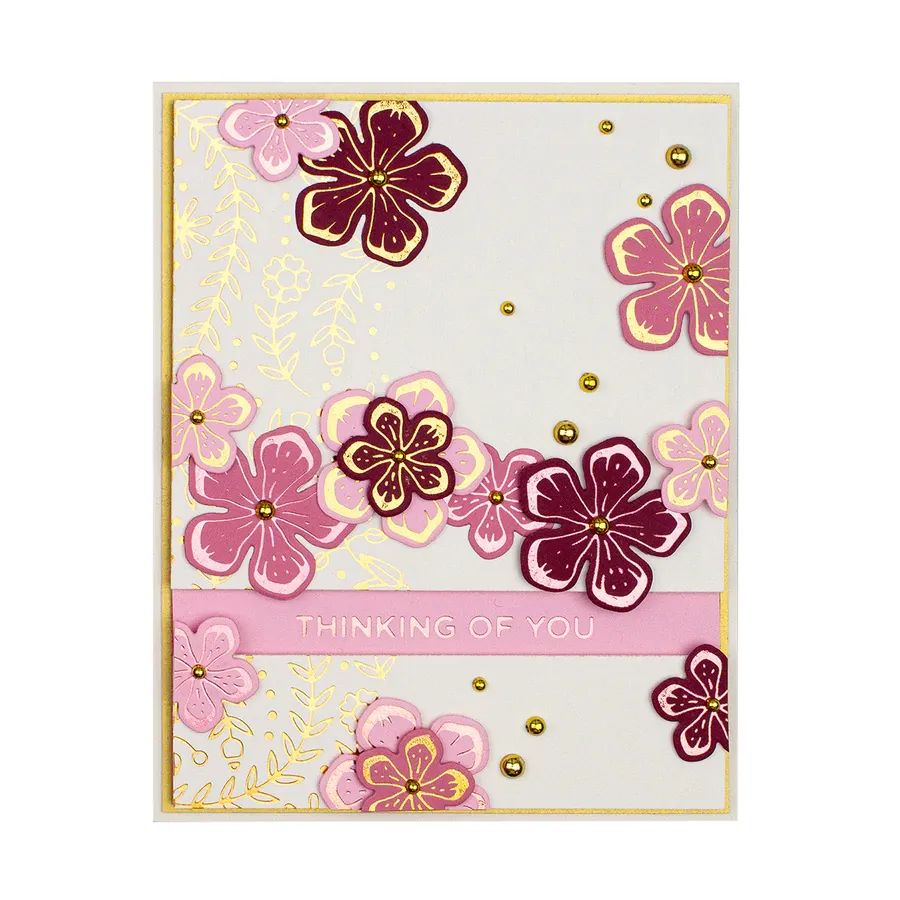 Spellbinders Glimmer Hot Foil Plate - Glimmering Layered Flowers - GLP-142