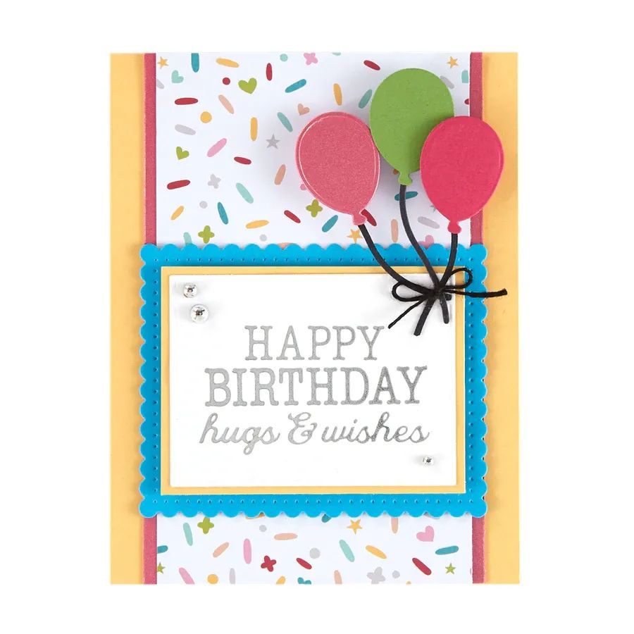 Spellbinders Glimmer Hot Foil Plate - Birthday Hugs & Wishes - GLP-144