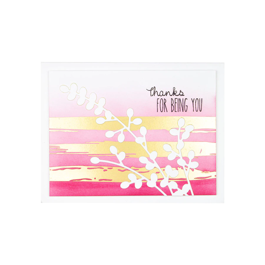 Spellbinders Glimmer Hot Foil Plate - Effortless Greetings by Laurie Wilson - Foiled Brushstrokes and Stripes - GLP-163