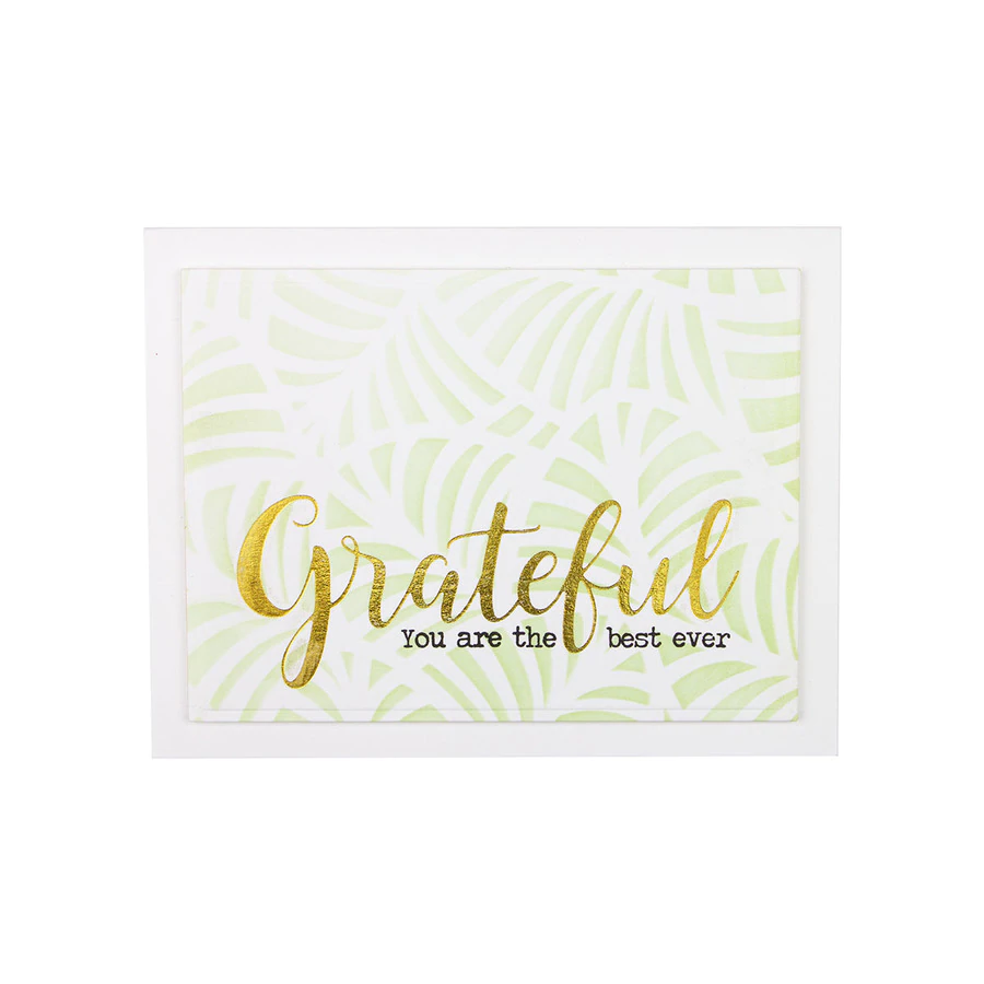 Spellbinders Glimmer Hot Foil Plate - Effortless Greetings by Laurie Wilson - Sweeping Grateful - GLP-165