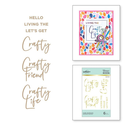 Spellbinders Glimmer Hot Foil PLate - Craft Happy -  Crafty Sentiments - GLP-214