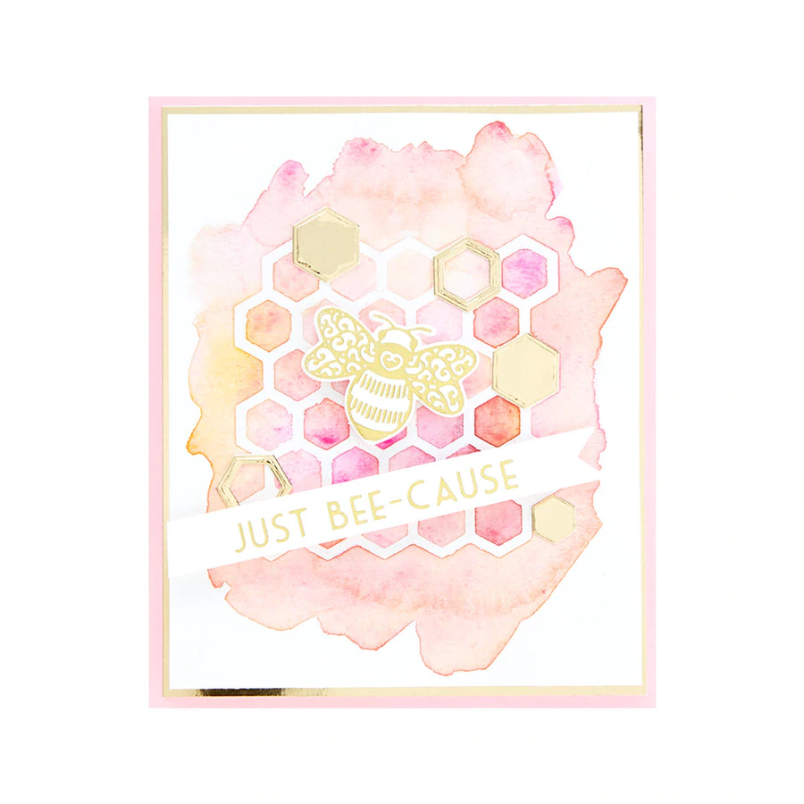 Spellbinders Glimmer Hot Foil Plate - Sweet Cardlets by Becca Feeken - Just Bee-cause - GLP-237